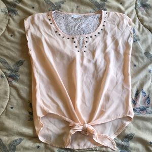 Peach lace & crepe top